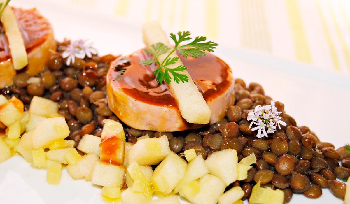Lentejas con foie gras