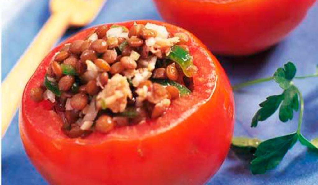 Tomates rellenos de lentejas